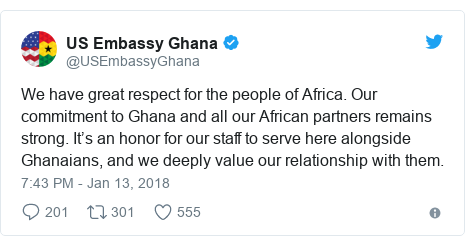 Twitter post by @USEmbassyGhana: We have great respect for the people of Africa. Our commitment to Ghana and all our African partners remains strong. It's an honor for our staff to serve here alongside Ghanaians, and we deeply value our relationship with them.