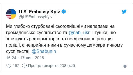 Twitter допис, автор: @USEmbassyKyiv: Ми глибоко стурбовані сьогоднішніми нападами на громадянське суспільство та @nab_ukr Тітушки, що залякують реформаторів, та неефективна реакція поліції, є неприйнятними в сучасному демократичному суспільстві. @Shabunin