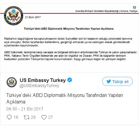 @USEmbassyTurkey tarafından yapılan Twitter paylaşımı: Türkiye'deki ABD Diplomatik Misyonu Tarafından Yapılan Açıklama