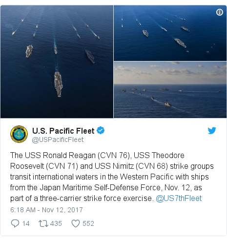 Twitter post by @USPacificFleet: The USS Ronald Reagan (CVN 76), USS Theodore Roosevelt (CVN 71) and USS Nimitz (CVN 68) strike groups transit international waters in the Western Pacific with ships from the Japan Maritime Self-Defense Force, Nov. 12, as part of a three-carrier strike force exercise. @US7thFleet