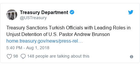 Twitter post by @USTreasury: Treasury Sanctions Turkish Officials with Leading Roles in Unjust Detention of U.S. Pastor Andrew Brunson