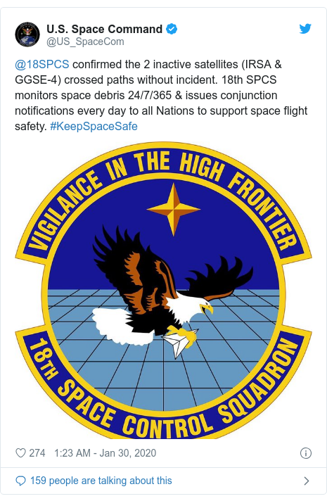 Twitter post by @US_SpaceCom: @18SPCS confirmed the 2 inactive satellites (IRSA & GGSE-4) crossed paths without incident. 18th SPCS monitors space debris 24/7/365 & issues conjunction notifications every day to all Nations to support space flight safety. #KeepSpaceSafe