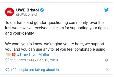 Twitter post by @UWEBristol: To our trans and gender-questioning community  over the last week we've received criticism for supporting your rights and your identity.We want you to know  we're glad you're here; we support you; and you can use any toilet you feel comfortable using 🤜🏼💥 #TransLivesMatter