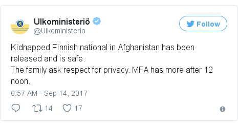 Twitter post by @Ulkoministerio: Kidnapped Finnish national in Afghanistan has been released and is safe.The family ask respect for privacy. MFA has more after 12 noon.