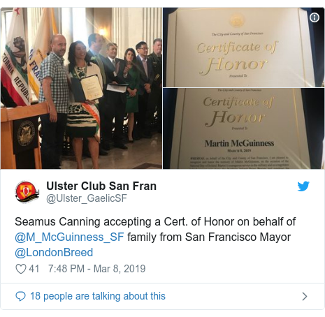 Twitter post by @Ulster_GaelicSF: Seamus Canning accepting a Cert. of Honor on behalf of @M_McGuinness_SF family from San Francisco Mayor @LondonBreed
