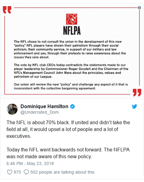 Twitter post by @Underrated_Dom: The NFL is about 70% black. If united and didn't take the field at all, it would upset a lot of people and a lot of executives. Today the NFL went backwards not forward. The NFLPA was not made aware of this new policy.