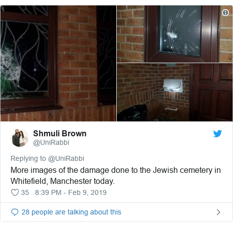 Twitter post by @UniRabbi: More images of the damage done to the Jewish cemetery in Whitefield, Manchester today.