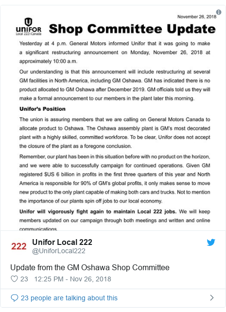 Twitter post by @UniforLocal222: Update from the GM Oshawa Shop Committee