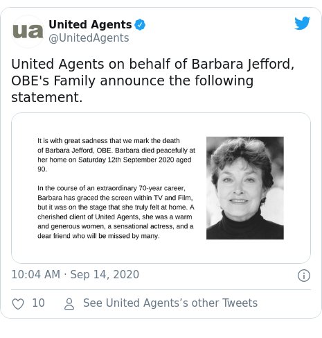 Twitter post by @UnitedAgents: United Agents on behalf of Barbara Jefford, OBE's Family announce the following statement.