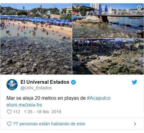 Publicación de Twitter por @Univ_Estados: Mar se aleja 20 metros en playas de #Acapulco