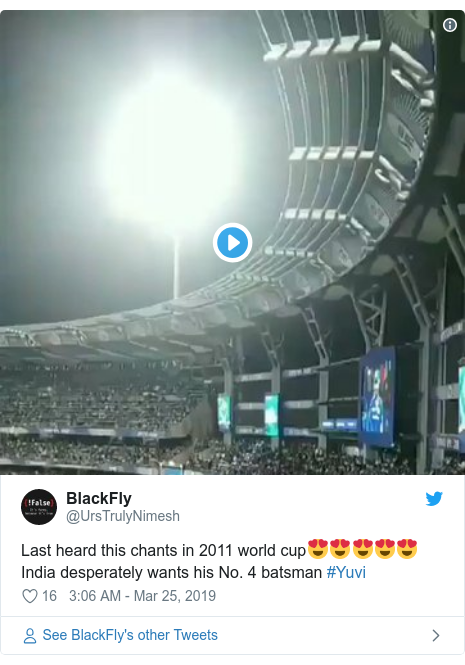 Twitter post by @UrsTrulyNimesh: Last heard this chants in 2011 world cup😍😍😍😍😍India desperately wants his No. 4 batsman #Yuvi
