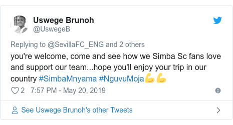 Ujumbe wa Twitter wa @UswegeB: you're welcome, come and see how we Simba Sc fans love and support our team...hope you'll enjoy your trip in our country #SimbaMnyama #NguvuMoja💪💪