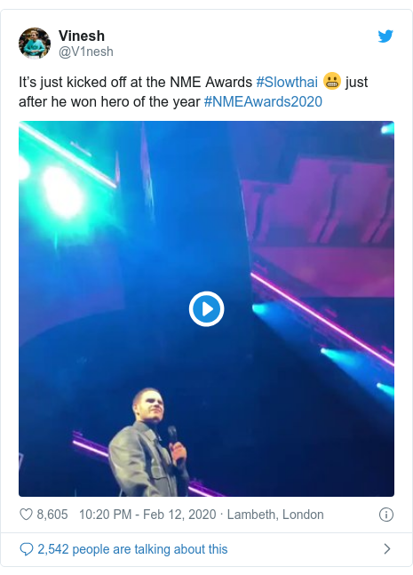 Twitter post by @V1nesh: It's just kicked off at the NME Awards #Slowthai 😬 just after he won hero of the year #NMEAwards2020