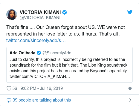 Twitter post by @VICTORIA_KIMANI: That's fine .... Our Queen forgot about US. WE were not represented in her love letter to us. It hurts. That's all .