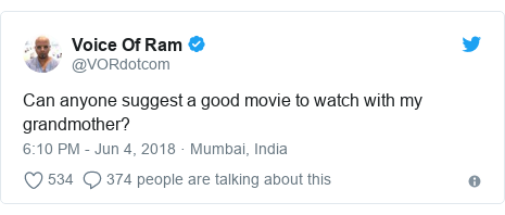 Twitter post by @VORdotcom: Can anyone suggest a good movie to watch with my grandmother?
