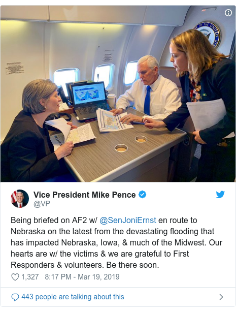 Twitter post by @VP: Being briefed on AF2 w/ @SenJoniErnst en route to Nebraska on the latest from the devastating flooding that has impacted Nebraska, Iowa, & much of the Midwest. Our hearts are w/ the victims & we are grateful to First Responders & volunteers. Be there soon.