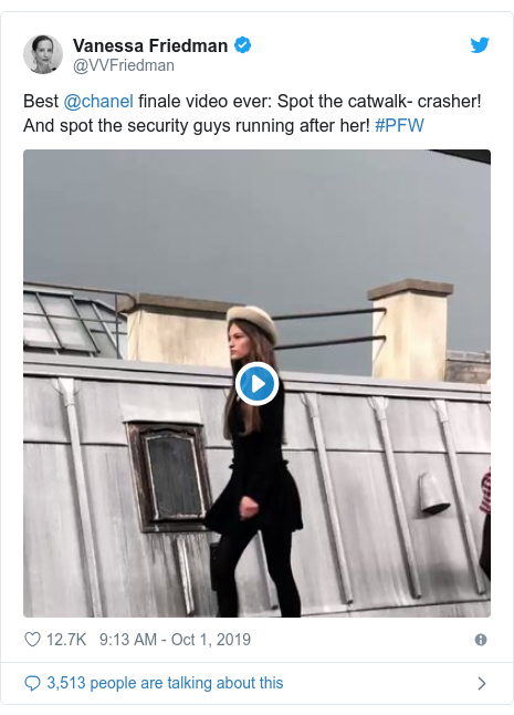 Twitter post by @VVFriedman: Best @chanel finale video ever  Spot the catwalk- crasher! And spot the security guys running after her! #PFW