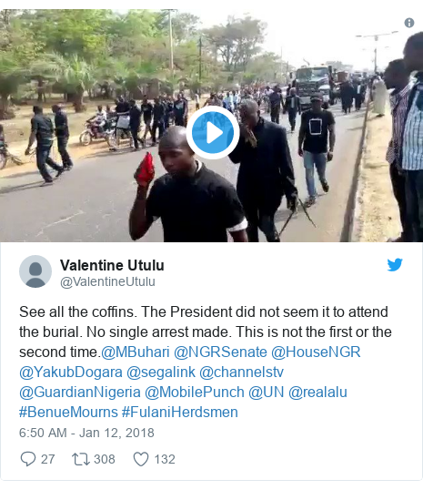 Twitter post by @ValentineUtulu: See all the coffins. The President did not seem it to attend the burial. No single arrest made. This is not the first or the second time.@MBuhari @NGRSenate @HouseNGR @YakubDogara @segalink @channelstv  @GuardianNigeria @MobilePunch @UN @realalu #BenueMourns #FulaniHerdsmen