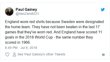 Twitter post by @VanZandt221: England wore red shirts because Sweden were designated the home team. They have not been beaten in the last 17 games that they've worn red. And England have scored 11 goals in the 2018 World Cup - the same number they scored in 1966.