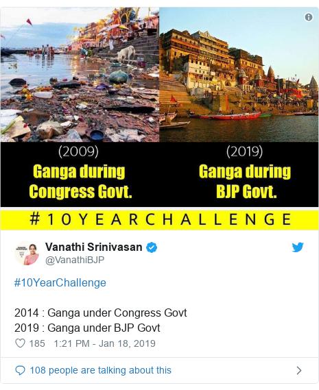 Twitter post by @VanathiBJP: #10YearChallenge 2014   Ganga under Congress Govt 2019   Ganga under BJP Govt
