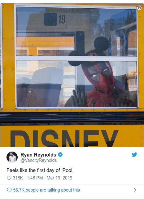 Twitter post by @VancityReynolds: Feels like the first day of 'Pool.