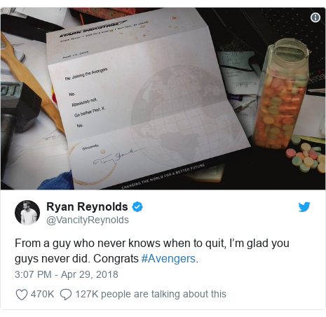 Twitter post by @VancityReynolds: From a guy who never knows when to quit, I'm glad you guys never did. Congrats #Avengers.