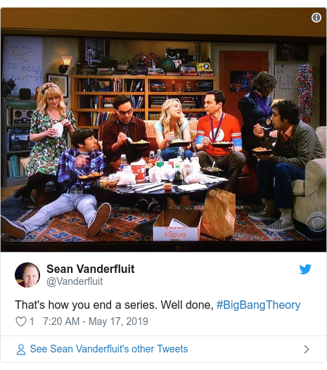 Twitter post by @Vanderfluit: That's how you end a series. Well done, #BigBangTheory