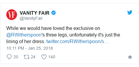 Twitter post by @VanityFair: While we would have loved the exclusive on @RWitherspoon's three legs, unfortunately it's just the lining of her dress.