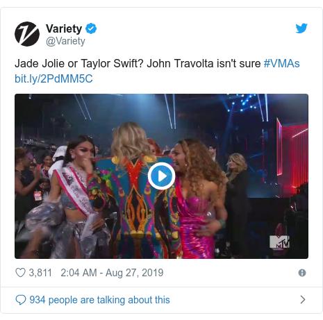 Twitter post by @Variety: Jade Jolie or Taylor Swift? John Travolta isn't sure #VMAs
