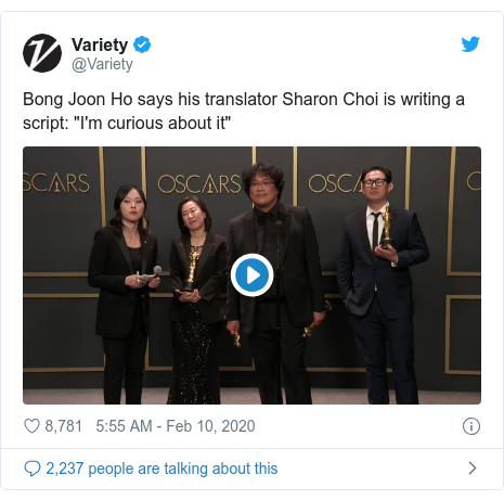"""Twitter post by @Variety: Bong Joon Ho says his translator Sharon Choi is writing a script  """"I'm curious about it"""""""