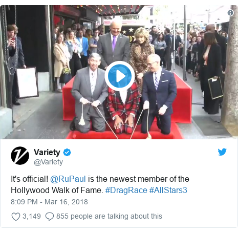 Twitter post by @Variety: It's official! @RuPaul is the newest member of the Hollywood Walk of Fame. #DragRace #AllStars3