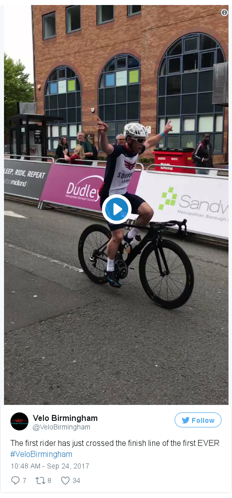 Twitter post by @VeloBirmingham: The first rider has just crossed the finish line of the first EVER #VeloBirmingham pic.twitter.com/XG58FQR3t8