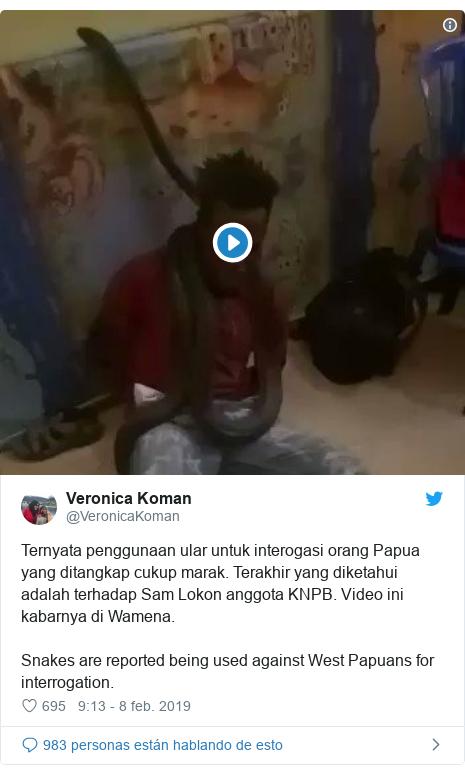 Publicación de Twitter por @VeronicaKoman: Ternyata penggunaan ular untuk interogasi orang Papua yang ditangkap cukup marak. Terakhir yang diketahui adalah terhadap Sam Lokon anggota KNPB. Video ini kabarnya di Wamena.Snakes are reported being used against West Papuans for interrogation.
