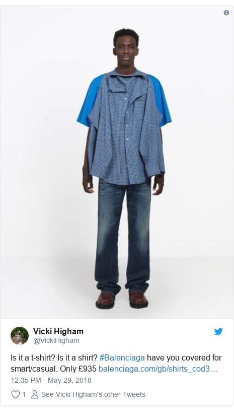 Ujumbe wa Twitter wa @VickiHigham: Is it a t-shirt? Is it a shirt? #Balenciaga have you covered for smart/casual. Only £935