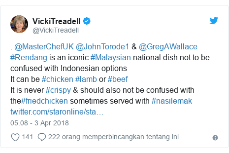 Twitter pesan oleh @VickiTreadell: . @MasterChefUK @JohnTorode1 & @GregAWallace #Rendang is an iconic #Malaysian national dish not to be confused with Indonesian optionsIt can be #chicken #lamb or #beefIt is never #crispy & should also not be confused with the#friedchicken sometimes served with #nasilemak