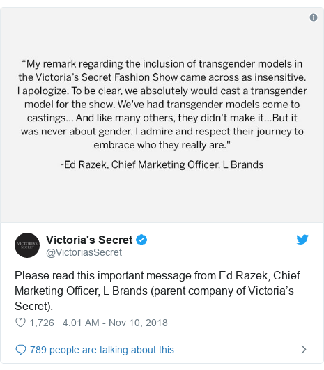 Twitter post by @VictoriasSecret: Please read this important message from Ed Razek, Chief Marketing Officer, L Brands (parent company of Victoria's Secret).