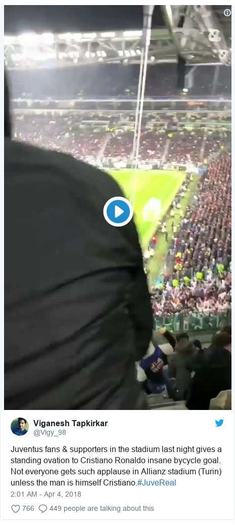 Twitter post by @Vigy_98: Juventus fans & supporters in the stadium last night gives a standing ovation to Cristiano Ronaldo insane bycycle goal.Not everyone gets such applause in Allianz stadium (Turin) unless the man is himself Cristiano.#JuveReal