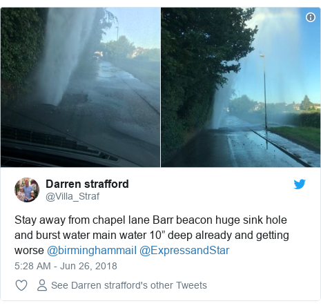 "Twitter post by @Villa_Straf: Stay away from chapel lane Barr beacon huge sink hole and burst water main water 10"" deep already and getting worse @birminghammaiI @ExpressandStar"