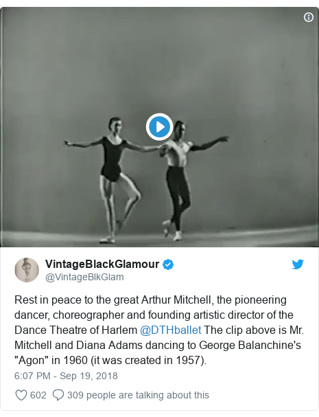 "Twitter post by @VintageBlkGlam: Rest in peace to the great Arthur Mitchell, the pioneering dancer, choreographer and founding artistic director of the Dance Theatre of Harlem @DTHballet The clip above is Mr. Mitchell and Diana Adams dancing to George Balanchine's ""Agon"" in 1960 (it was created in 1957)."