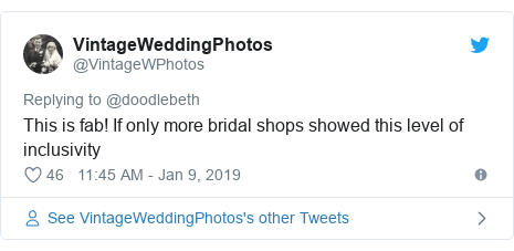 Twitter post by @VintageWPhotos: This is fab! If only more bridal shops showed this level of inclusivity