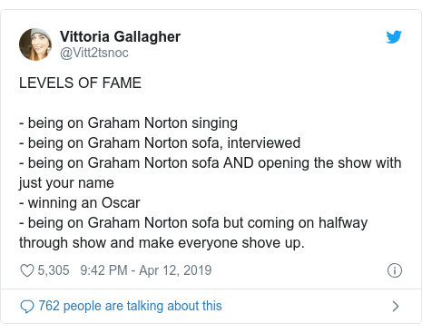 Twitter post by @Vitt2tsnoc: LEVELS OF FAME - being on Graham Norton singing - being on Graham Norton sofa, interviewed- being on Graham Norton sofa AND opening the show with just your name - winning an Oscar- being on Graham Norton sofa but coming on halfway through show and make everyone shove up.