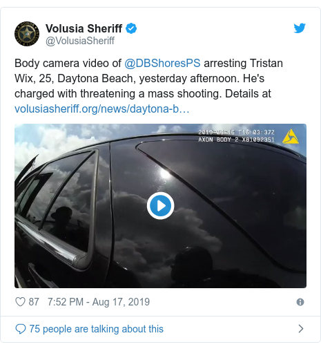 Twitter post by @VolusiaSheriff: Body camera video of @DBShoresPS arresting Tristan Wix, 25, Daytona Beach, yesterday afternoon. He's charged with threatening a mass shooting. Details at