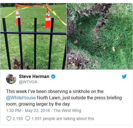 Twitter post by @W7VOA: This week I've been observing a sinkhole on the @WhiteHouse North Lawn, just outside the press briefing room, growing larger by the day.
