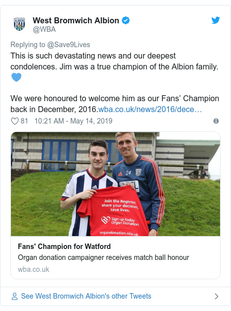 Twitter post by @WBA: This is such devastating news and our deepest condolences. Jim was a true champion of the Albion family. 💙We were honoured to welcome him as our Fans' Champion back in December, 2016.