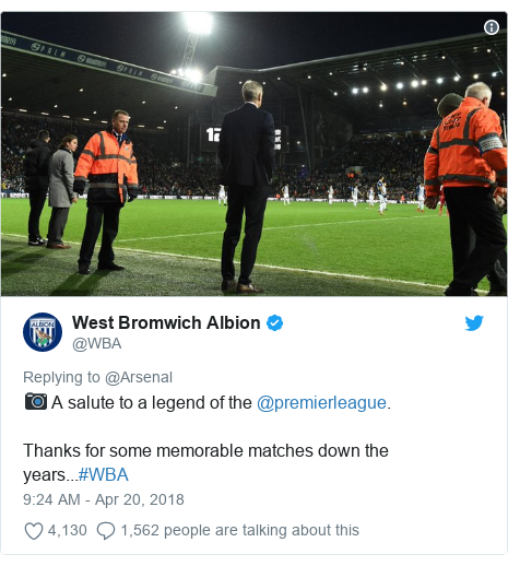 Twitter post by @WBA: 📷 A salute to a legend of the @premierleague.Thanks for some memorable matches down the years...#WBA