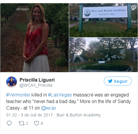 """Twitter post de @WCAX_Priscilla: #Vermonter killed in #LasVegas massacre was an engaged teacher who """"never had a bad day."""" More on the life of Sandy Casey - at 11 on @wcax pic.twitter.com/BIsqkqz9jw"""
