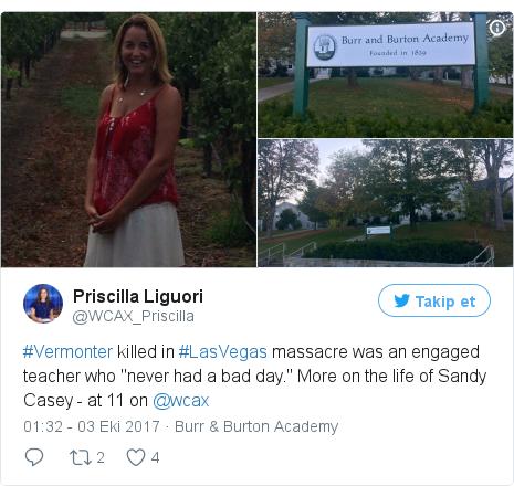 "@WCAX_Priscilla tarafından yapılan Twitter paylaşımı: #Vermonter killed in #LasVegas massacre was an engaged teacher who ""never had a bad day."" More on the life of Sandy Casey - at 11 on @wcax pic.twitter.com/BIsqkqz9jw"