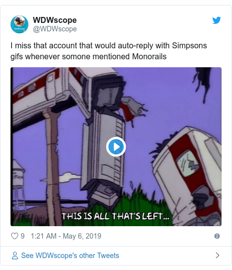 Twitter post by @WDWscope: I miss that account that would auto-reply with Simpsons gifs whenever somone mentioned Monorails