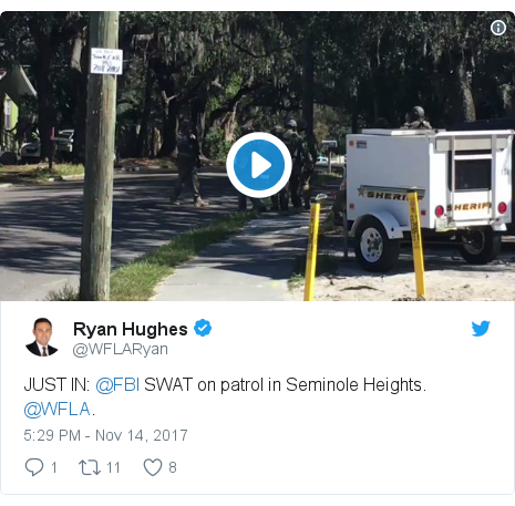 Twitter post by @WFLARyan: JUST IN  @FBI SWAT on patrol in Seminole Heights. @WFLA.