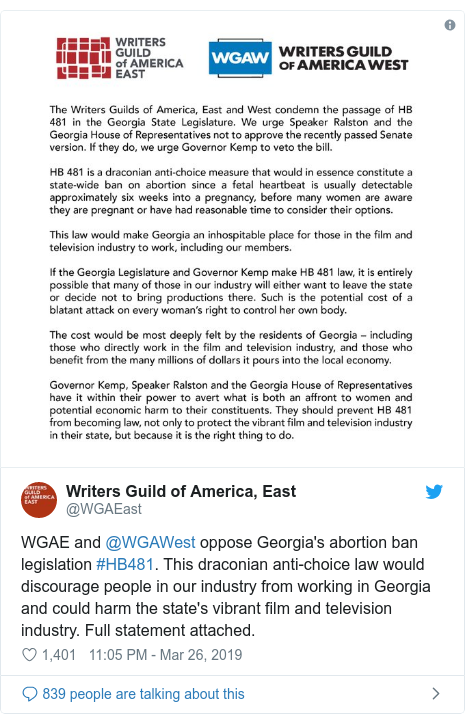 Twitter post by @WGAEast: WGAE and @WGAWest oppose Georgia's abortion ban legislation #HB481. This draconian anti-choice law would discourage people in our industry from working in Georgia and could harm the state's vibrant film and television industry. Full statement attached.